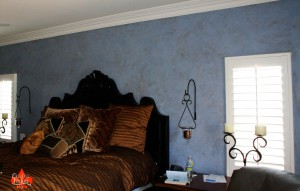 Venetian Plaster can come in any colour, Duck Egg Blue with Mahogany Wax in Sherman Oaks