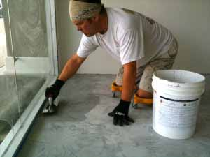 Our Fearless Leader, applying Skimstone, a Cementitious Based Concrete Overlay