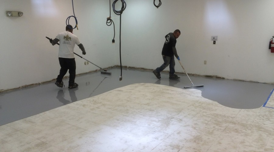 Got ugly VCT's?  Water Base Epoxy over them!